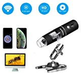 Wireless Digital Microscope, Skybasic 50X to 1000X WiFi Handheld Zoom Magnification Endoscope Magnifier 1080P FHD 2.0 MP 8 LED Compatible with Android and iOS Smartphone or Tablet, Windows Mac PC (Color: Black, Tamaño: 5.12x1.18x1.18inch)