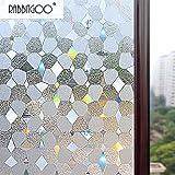 Rabbitgoo 3Dガラスフィルム 窓用フィルム 目隠し 装飾フィルム プライバシーガラスシート 遮熱断熱 紫外線カット 無接着剤 水で簡単貼り付け 貼り直しでき 再利用可能 DIY(90 x 200cm)