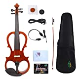 Brown Electric Silent Viola 15inch Woodden Body Sweet Sound Free Case Bow Rosin (Color: 15.5inch)