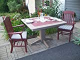"Poly Lumber Wood Patio Set- 33"" Square Table and 2 Classic Chairs with Arms- Amish Made USA"