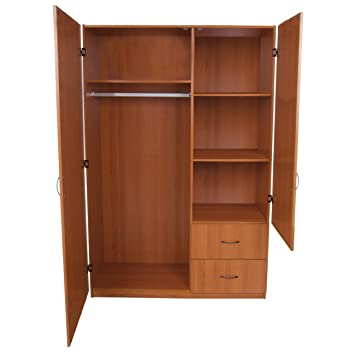 Home Source Industries 11310 L Cherry Wardrobe 2-Door Wardrobe with hanging Area Shelving and 2-Drawer, Light Cherry