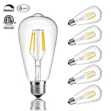 CMYK Vintage Edison LED Bulb, Dimmable 4W ST64 Antique LED Bulb Squirrel Cage Filament Light For Decorate Home, E26, 4000K, Daylight, Pack of 6 (Color: Daylight(4000K), Tamaño: 4 Watts)