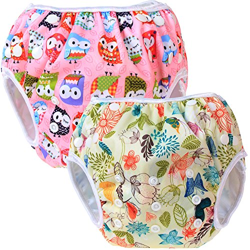 Teamoy 2pcs Baby Nappy riutilizzabile pannolino da nuoto, Jungle+ Owls Pink