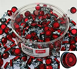 Chris Products CH150R Red Motorcycle Bulk Tub of Mini Licese Plate Reflector, 150 Piece
