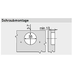 Blum Clip top Blumotion Furniture Hinge Integrated 107Degree Set Square, 71B3550