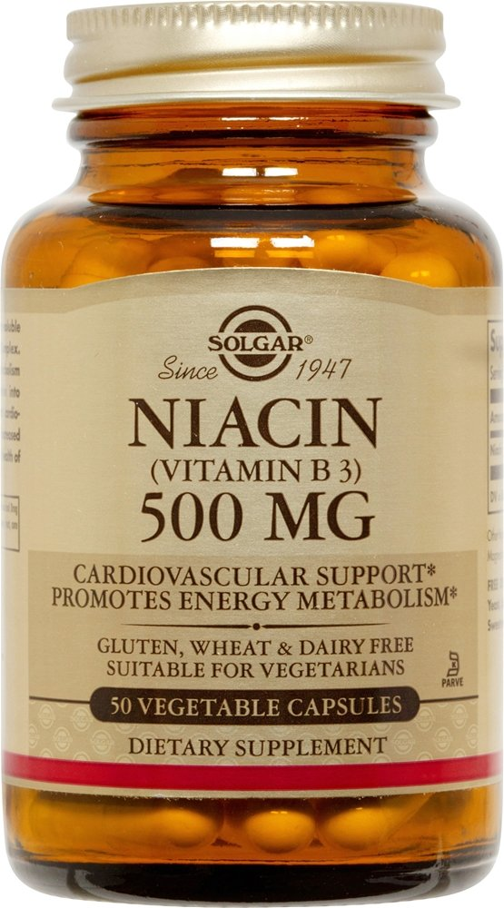 Solgar Niacin (Vitamin B3) 500 mg Vegetable Capsules 50 solgar