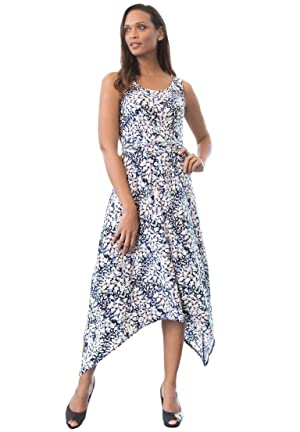 Jessica London Women's Plus Size Uneven Hem Dress Navy Print,22