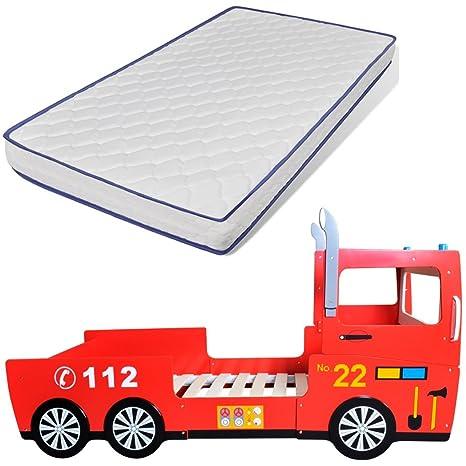 Cama infantil forma coche bomberos 200 x 90 cm con colchón incluido