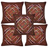 Handmade Embroidery Work Design Mirror Work Elegant Cotton Cushion Cover Set Of 5 Pcs 16x16 Inches