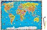 Illustrierte-politische-Weltkarte-Schreibtischunterlage-Hochwertiges-Material-schadstofffrei