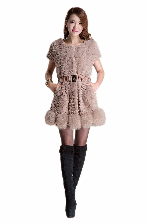 Neu Queenshiny Damen 100% Echte Rex Kaninchen Pelz Lang Westen Mantel Jacken Mit Fuchs Pelz Trimm Winter Mode günstig kaufen