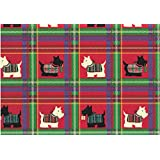 """Scottish Terrier Rolled Christmas Plaid Gift Wrap Paper """"Scotty Plaid"""" (1)"""