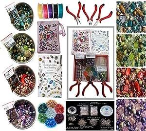 Kit de fabrication de bijoux - contient un vaste assortiment de perles de acrylique, cordon élastique, perles, fil, Pinces, Tubes de sertissage. Tout ce que vous devez faire beaucoup de bijoux - cadeau idéal ou partie de Kit de Loisir Créatif- Instructions incluses Ensemble de Perles pour Fabriquer Bijoux Deluxe pour Adultes