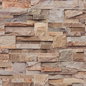 Brown grey j27408 natural brick stone effect - Papel pintado amazon ...