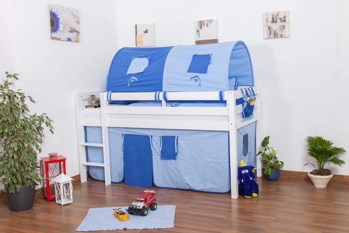 Kinderbett Hochbett Andi Buche Vollholz massiv weiß lackiert inkl. Rollrost – 90 x 200 cm jetzt bestellen