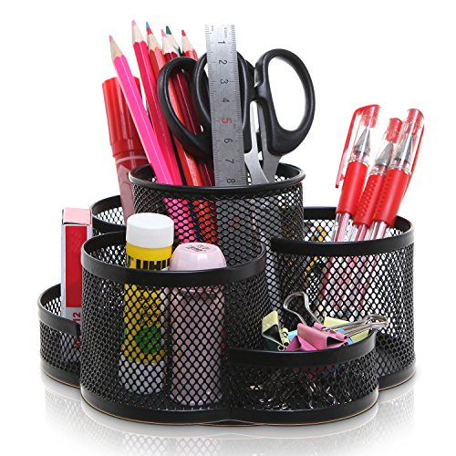 Rotating Black Metal Mesh 7 Compartment Desktop Office Supplies Storage Organizer Caddy Rack - MyGift (Tabletop Supply Caddy compare prices)