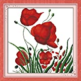 Anself DIY Handmade Needlework Counted Cross Stitch Set Embroidery Kit 14CT Red Flowers Pattern Cross Stitching 38 38cm Home Decoration