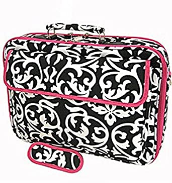 World Traveler Damask Print 17-inch Laptop Bag, Black and White with Pink Trim