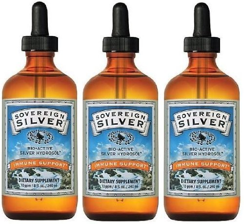 Sovereign Silver (8oz) 10ppm Nano Hydrosol (Liquid) 3 Bottles - NanoSilver