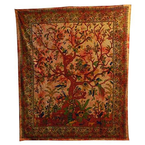 Colcha Árbol del la vida naranja 230x205cm pájaro flores Tie Dye Estilo