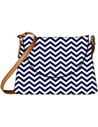 Snoogg White And Blue Strips Designer Womens Carry Around Sling Bags