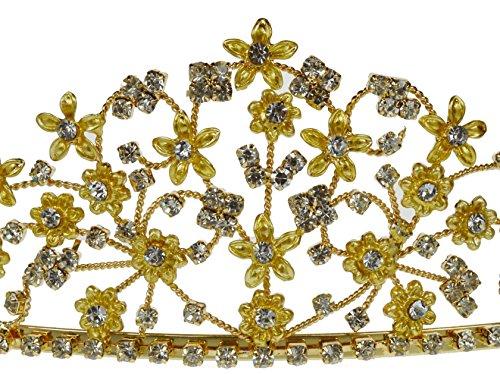 SC Rhinestone Crystal Prom Bridal Wedding Tiara Crown With Flowers 60846 elsa tiaras princess crown hair accessories crystal diamond candy color tiara magic wand party bridal wedding jewelry accessory