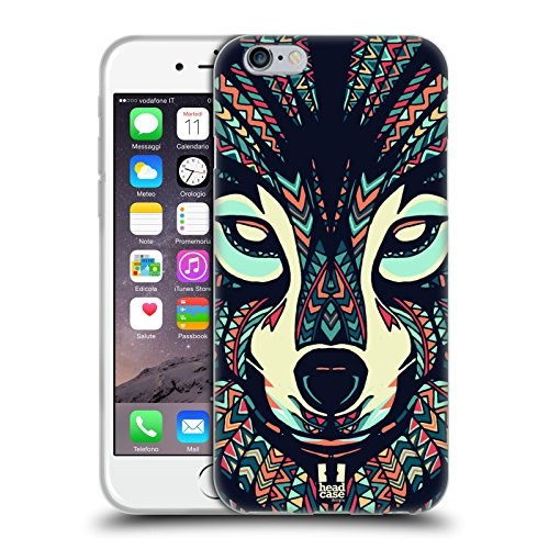 Head Case Designs Lupo Facce Di Animali Aztechi 3 Cover Morbida In Gel Per Apple iPhone 6 / 6s