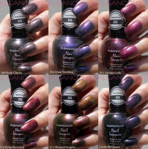 NEW-KLEANCOLOR-3D-DUOCHROME-NAIL-POLISH-LOT-OF-6-LACQUER-THE-CHROMATIC-ERA-KNP17-FREE-EARRING-by-Kleancolor