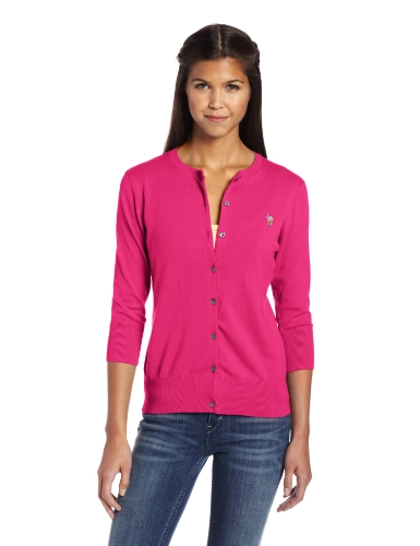 U.S. Polo Assn. Women'S Solid Cardigan Sweater, Berry Bug, X-Large