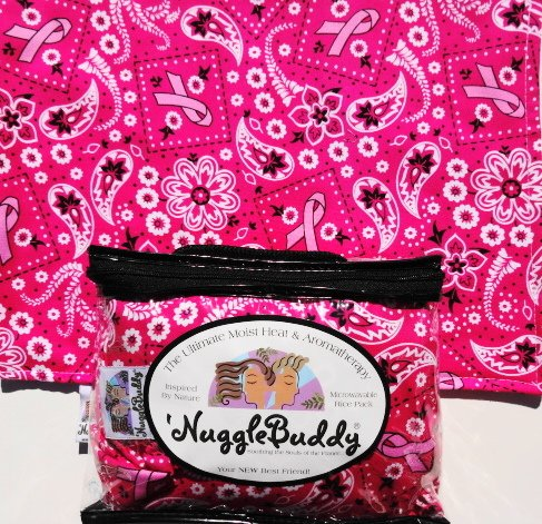 """'Nugglebuddy Microwave Moist Heat & Aromatherapy Organic Rice Pack. Cold Pack. """"Pink Bandana Inspirational"""" Fabric. This Product Is Unscented! Give The Gift Of Warmth & Comfort!"""