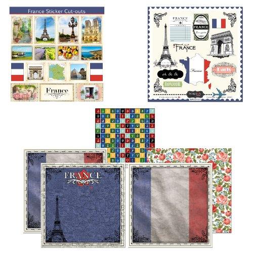 Scrapbook Customs Themed Paper and Stickers Scrapbook Kit, France Sightseeing