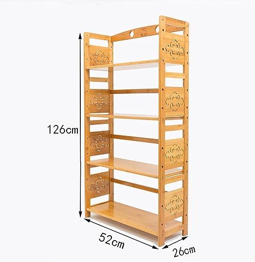 Book Jia librerie Scaffali in legno massello multi-strato semplici Scaffale per pavimenti in legno con scaffalatura in bambù librerie moderne ( dimensioni : 52*26*126cm )