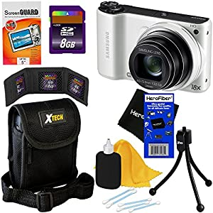 "Samsung WB200F 14.2MP Smart Wi-Fi Digital Camera with 18x Optical Zoom, 3.0"" Touch Screen LCD & HD Video (White) + 7pc Bundle 8GB Accessory Kit w/ HeroFiber® Ultra Gentle Cleaning Cloth"