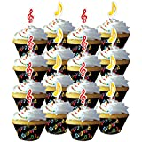 Dancing Music Notes Cupcake Wrappers with Toppers
