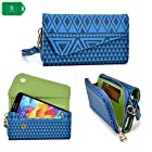 NEVISS TM Cellphone holder clutch with bonus wristlet strap & crossbody chain | aztec design in blue universal design fits T-Mobile Pre-Paid Nokia Lumia 521 4G Smartphone