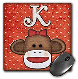 3dRose LLC 8 x 8 x 0.25 Inches Mouse Pad, Cute Sock Monkey Girl Initial Letter K (mp_102814_1) at 'Sock Monkeys'