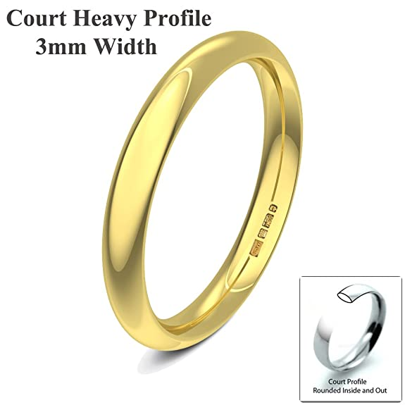 Xzara Jewellery - 9ct Yellow 3mm Heavy Court Profile Hallmarked Ladies Gents 2.5 Grams Wedding Ring Band