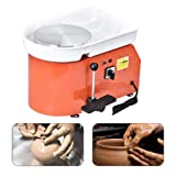 SKYTOU Pottery Wheel Pottery Forming Machine 25CM 350W Electric Pottery Wheel with Foot Pedal DIY Clay Tool Ceramic Machine Work Clay Art Craft (Color: Orange)