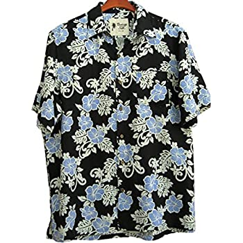 Mens Hawaiian Silk Camp Shirt Black Blue Hibiscus Casual
