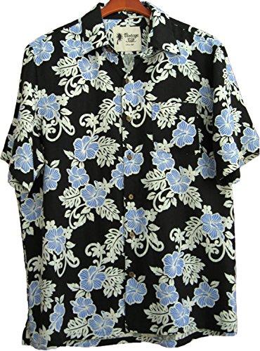 Mens Hawaiian Silk Camp Shirt Black Blue Hibiscus Casual 0