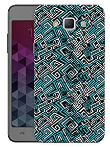 """Humor Gang Geometric Abstract Pattern - Blue Printed Designer Mobile Back Cover For """"Samsung Galaxy A3"""" (3D, Matte, Premium Quality Snap On Case)"""