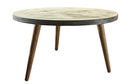 """SIT-Möbel 9967-13 Couchtisch """"Cement"""", B/T/H: ca. 82 x 82 x 43 cm, Beine Eiche, Platte Leichtbeton, grau"""