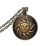 Litter Star Glass Dome Pendant Fashion Glass Dome Art Neckalce Heirs Of The Sun Dark Souls II Necklace Glass Cabochon Necklace Birthday Anniversary Valentine'S Day Christmas'S Day Graduation Gift For Men For Women Antique Bronze Plated (Color: Antique Bronze Plated)