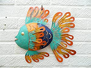 Metal Wall Art Tropical Fish Garden Ornament - Blue Face