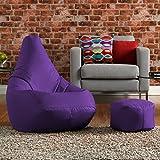 Hi-BagZ® Bean Bag Chair & Matching Footstool Combo - 100% Easy Care High Back Bean Bags PURPLE