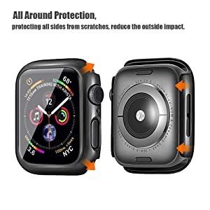 Alinsea Screen Protector for Apple Watch 40mm Case with Built-in Tempered Glass Screen Protector [2 Pack] [Daily Waterproof] [3D Full Coverage] All Around Cover Bumper Case for iwatch 40mm Series 4/5 (Tamaño: 40mm)