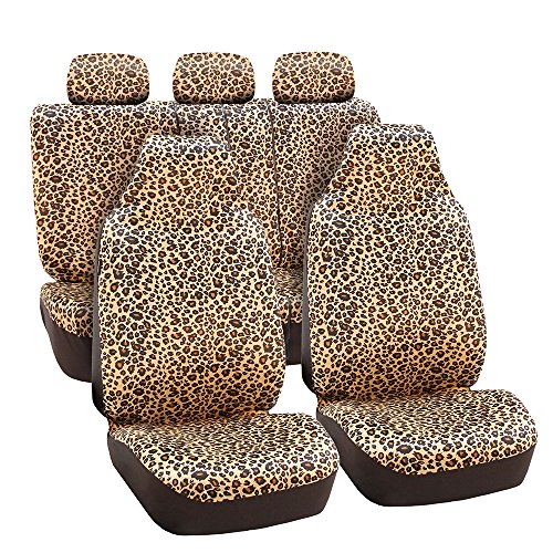 FH Group FB125BROWN115 Brown Classic Leopard Car Seat Cover (Airbag Compatible and Split Bench) (Brown Leopard Seat Covers compare prices)