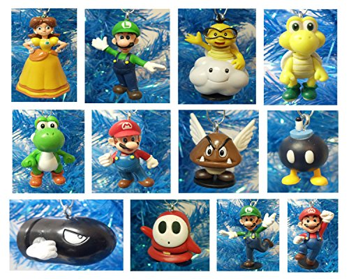 Super Mario Brothers 12 Piece Holiday Christmas Ornament Set Featuring Mario, Luigi, Yoshi, Bullet Bill, Princess Daisy, Shy, Goomba, Lakitu Spiny, Bomb, and Koopa Troopa – Shatterproof Ornaments Range from 1.5″ to 3.5″ Tall