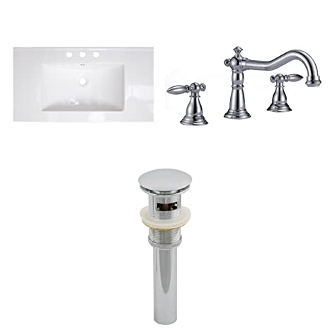 "Jade Bath JB-16676 32"" W x 18"" D Ceramic Top Set with 8"" o.c. CUPC Faucet and Drain, White"