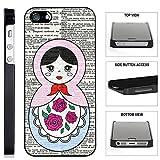 [TeleSkins] - Russian Doll - iPhone SE / 5 / 5S Black Plastic Case - Ultra Durable Slim & HARD PLASTIC Protective Vibrant Snap On Designer Back Case / Cover for Girls. [Fits iPhone SE / 5 / 5S]